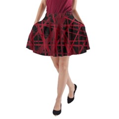 Black And Red Pattern A Line Pocket Skirt by Valentinaart