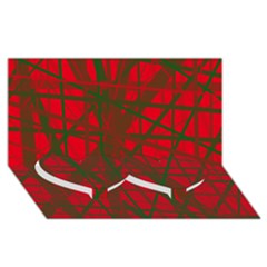Red Pattern Twin Heart Bottom 3d Greeting Card (8x4)  by Valentinaart