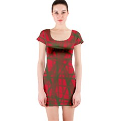 Red Pattern Short Sleeve Bodycon Dress by Valentinaart
