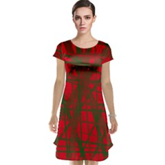 Red Pattern Cap Sleeve Nightdress by Valentinaart