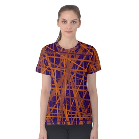 Blue And Orange Pattern Women s Cotton Tee by Valentinaart