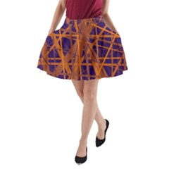 Blue And Orange Pattern A-line Pocket Skirt by Valentinaart