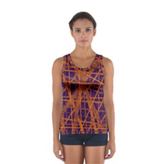 Blue And Orange Pattern Women s Sport Tank Top  by Valentinaart