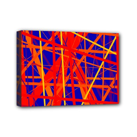 Orange And Blue Pattern Mini Canvas 7  X 5  by Valentinaart