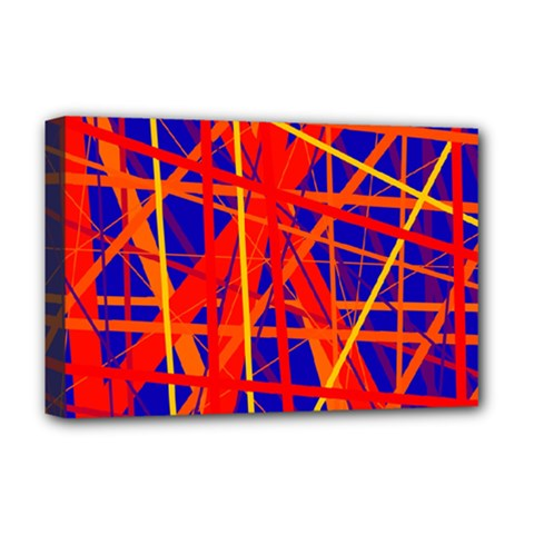 Orange And Blue Pattern Deluxe Canvas 18  X 12