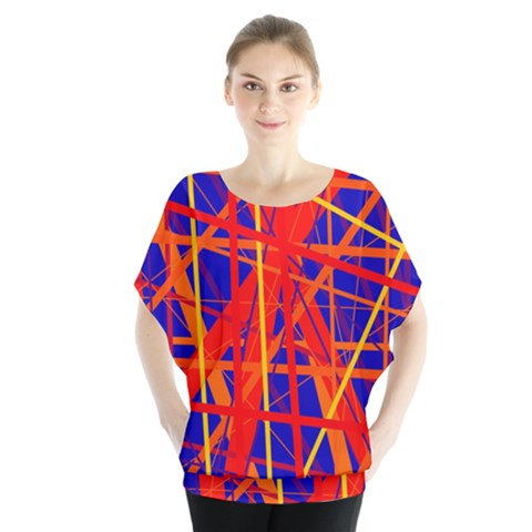 Orange And Blue Pattern Batwing Chiffon Blouse by Valentinaart