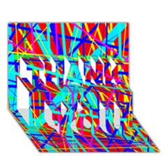 Colorful Pattern Thank You 3d Greeting Card (7x5)  by Valentinaart