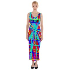 Colorful Pattern Fitted Maxi Dress by Valentinaart