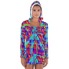 Colorful Pattern Women s Long Sleeve Hooded T Shirt by Valentinaart