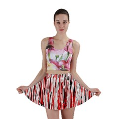 Red, Black And White Pattern Mini Skirt by Valentinaart