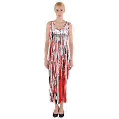 Red, Black And White Pattern Fitted Maxi Dress by Valentinaart