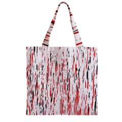 Red, Black And White Pattern Zipper Grocery Tote Bag by Valentinaart