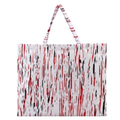 Red, Black And White Pattern Zipper Large Tote Bag by Valentinaart