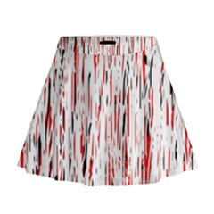 Red, Black And White Pattern Mini Flare Skirt by Valentinaart