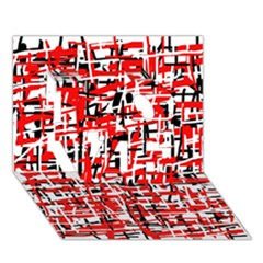 Red, White And Black Pattern Love 3d Greeting Card (7x5)  by Valentinaart
