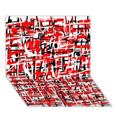Red, White And Black Pattern Clover 3d Greeting Card (7x5)  by Valentinaart