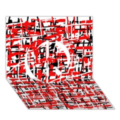 Red, White And Black Pattern Peace Sign 3d Greeting Card (7x5)  by Valentinaart