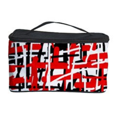 Red, White And Black Pattern Cosmetic Storage Case by Valentinaart