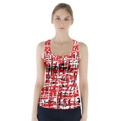 Red, White And Black Pattern Racer Back Sports Top by Valentinaart