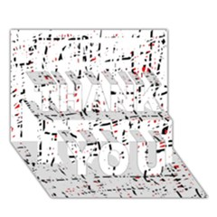 Red, White And Black Pattern Thank You 3d Greeting Card (7x5)