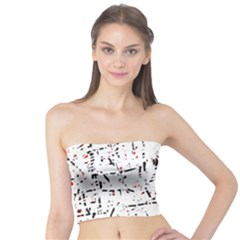 Red, White And Black Pattern Tube Top