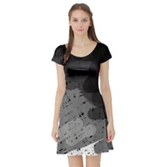 Black And Gray Pattern Short Sleeve Skater Dress by Valentinaart
