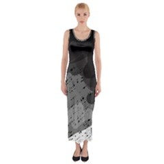 Black And Gray Pattern Fitted Maxi Dress by Valentinaart