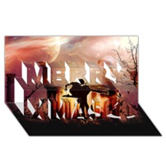 Dancing In The Night With Moon Nd Stars Merry Xmas 3d Greeting Card (8x4)  by FantasyWorld7