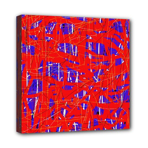 Blue And Red Pattern Mini Canvas 8  X 8  by Valentinaart