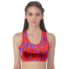 Blue And Red Pattern Sports Bra by Valentinaart