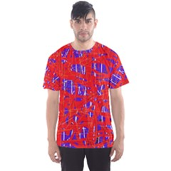 Blue And Red Pattern Men s Sport Mesh Tee by Valentinaart
