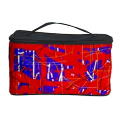 Blue And Red Pattern Cosmetic Storage Case by Valentinaart