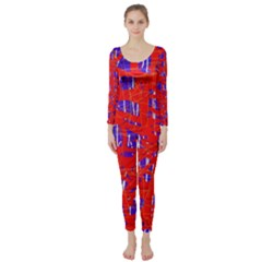 Blue And Red Pattern Long Sleeve Catsuit by Valentinaart