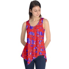 Blue And Red Pattern Sleeveless Tunic by Valentinaart