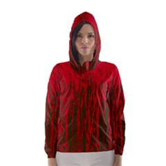 Red And Green Pattern Hooded Wind Breaker (women) by Valentinaart