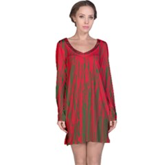 Red And Green Pattern Long Sleeve Nightdress by Valentinaart