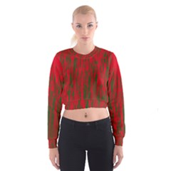Red And Green Pattern Women s Cropped Sweatshirt