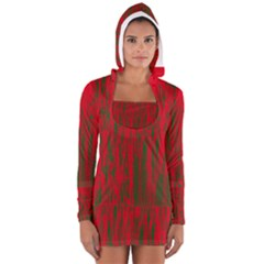 Red And Green Pattern Women s Long Sleeve Hooded T-shirt by Valentinaart
