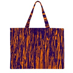 Blue And Orange Pattern Zipper Large Tote Bag