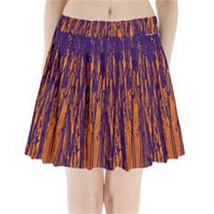 Blue And Orange Pattern Pleated Mini Mesh Skirt by Valentinaart
