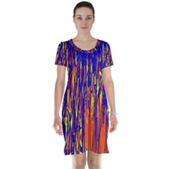 Orange, Blue And Yellow Pattern Short Sleeve Nightdress by Valentinaart