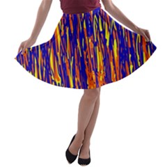 Orange, Blue And Yellow Pattern A Line Skater Skirt by Valentinaart