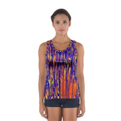 Orange, Blue And Yellow Pattern Women s Sport Tank Top  by Valentinaart