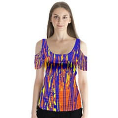 Orange, Blue And Yellow Pattern Butterfly Sleeve Cutout Tee