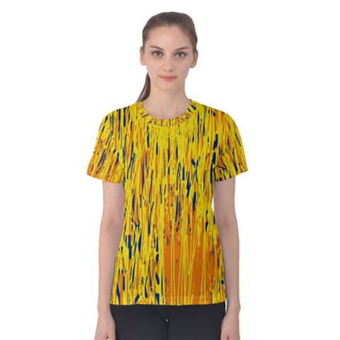 Yellow Pattern Women s Cotton Tee by Valentinaart