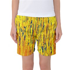 Yellow Pattern Women s Basketball Shorts by Valentinaart