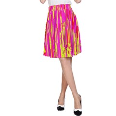 Pink And Yellow Pattern A-line Skirt by Valentinaart