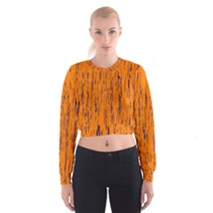 Orange Pattern Women s Cropped Sweatshirt