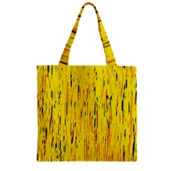 Yellow Pattern Zipper Grocery Tote Bag by Valentinaart