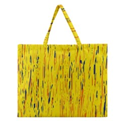 Yellow Pattern Zipper Large Tote Bag by Valentinaart